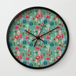 Vintage Christmas Hand-painted Ornaments in Multi Colors on Teal Wall Clock