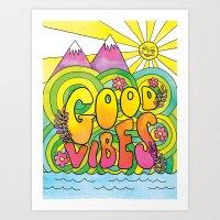 good vibes Art Prints featuring Good Vibes by Rachel Beyer