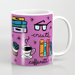 Read, Write, Create, Caffeinate (pink) Coffee Mug