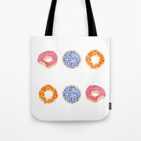 doughnut Tote Bags featuring doughnut selection by cardboardcities