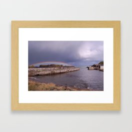 Rainbow Over Ballintoy Harbour, County Antrim, Northern Ireland Framed Art Print