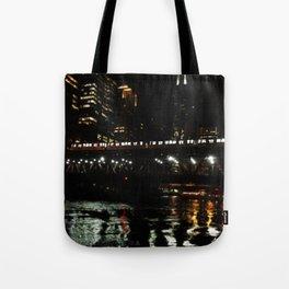 Chicago El and River at Night Tote Bag