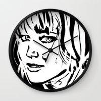 jennifer lawrence Wall Clocks featuring Jennifer Lawrence Stencil Portrait by Lucky art