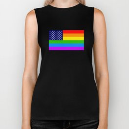 Gay USA Rainbow Flag - American LGBT Stars and Stripes Biker Tank