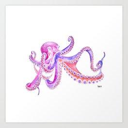 Octopus Poulpe Pieuvre Violet Pink Rose Art Print
