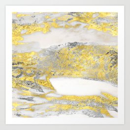 Silver and Gold Marble Design Art Print
