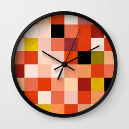 modern mid century checkers pattern coral Wall Clock