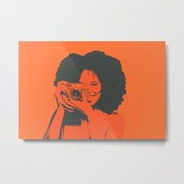 click, girl using a retro camera. Metal Print