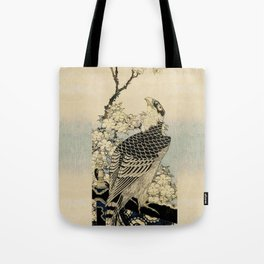 Hokusai -falcon next to a plum tree in bloom - 葛飾 北斎,hawk,bird. Tote Bag