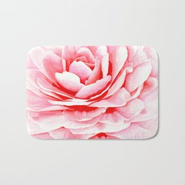 Watercolor Pink Camellia Bath Mat