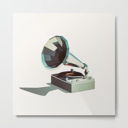 Lo-Fi goes 3D - Vinyl Record Player Metal Print
