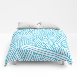 Abstract Teal & white Lines and Triangles Pattern - Mix and Match with Simplicity of Life Comforters