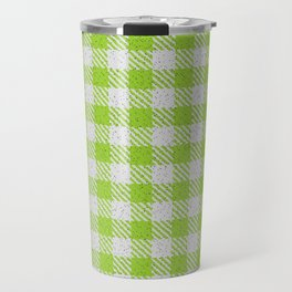 Yellow Green Buffalo Plaid Travel Mug