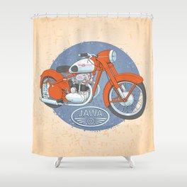 Retro bike JAWA Shower Curtain