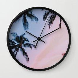 Palm Trees Sunset III / Kihei, Hawaii Wall Clock