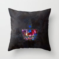 lotus flower Throw Pillows featuring Lotus by Spooky Dooky