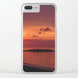 Red Orange Sunset Clear iPhone Case