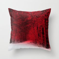 Red Forest Throw Pillow