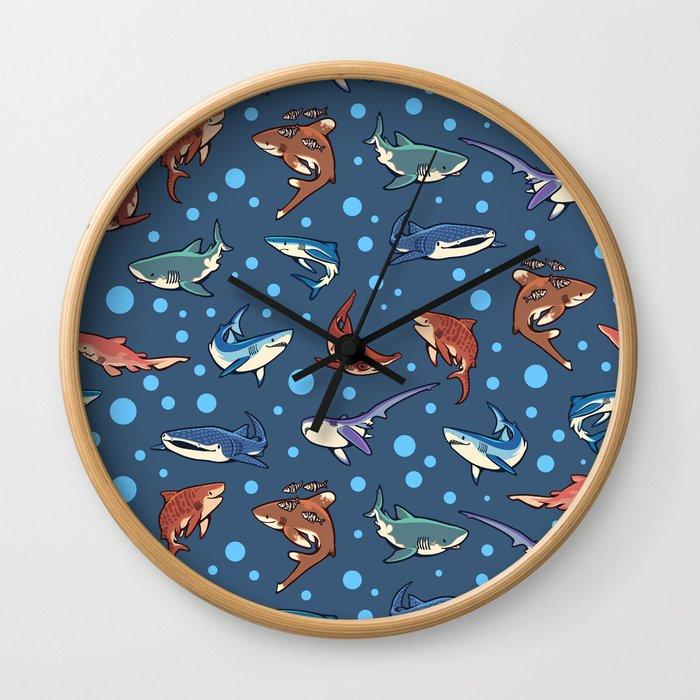Sharks in the dark blue Wall Clock