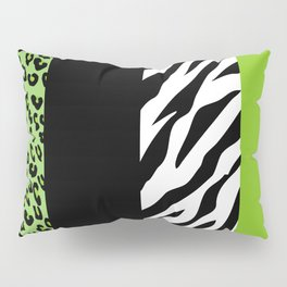 Animal Print, Zebra Stripes, Leopard Spots - Green Pillow Sham