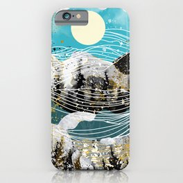 Waves and landscape iPhone Case