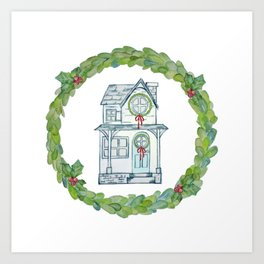 Winter wishes house and boxwood holiday wreath Art Print