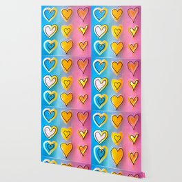 Painted Love Hearts Wallpaper