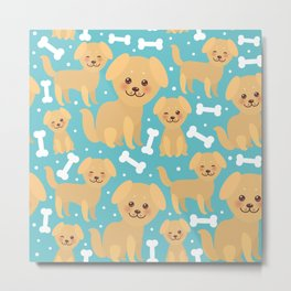 pattern funny golden beige dog and white bones, Kawaii face with large eyes and pink cheeks Metal Print