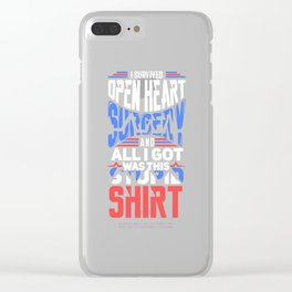 I Survived Open Heart Surgery Gift Clear iPhone Case