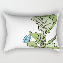 Lined Fig Tree and Blue Butterfly Rectangular Pillow