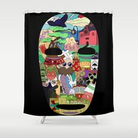 spirited away Shower Curtains featuring No Face by Ilse S