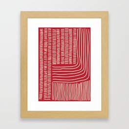 Digital Stitches thick red Framed Art Print