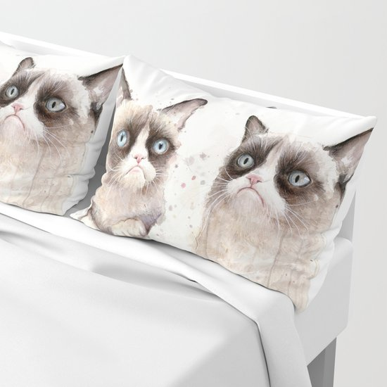 Grumpy Watercolor Cats by olechka
