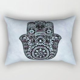 Watercolor Blue Pink Hamsa Hand Rectangular Pillow