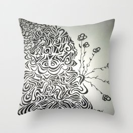 Buddha Blossoms Ink Doodle Throw Pillow