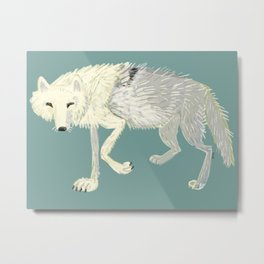 Totem Artic Wolf Turquoise Metal Print