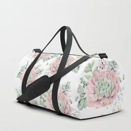 Pink Succulents by Nature Magick Duffle Bag