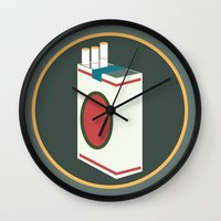 cigarette Wall Clocks featuring cigarette by Simon Khoo's Illustration