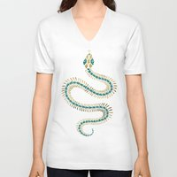 emerald V-neck T-shirts featuring Snake Skeleton – Emerald & Gold by Cat Coquillette