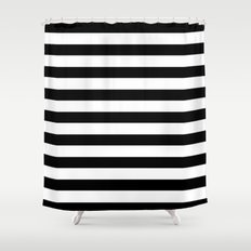 Midnight Black and White Stripes Shower Curtain
