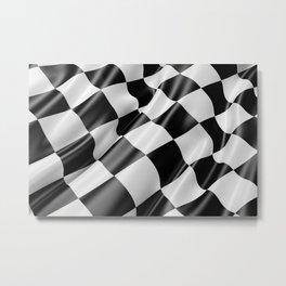 Black and White Waving Racing Flag Metal Print