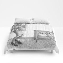 Girl with TV Comforters