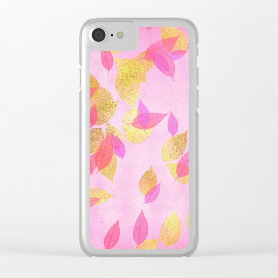 Autumn-world 5 - gold leaves on pink backround Clear iPhone Case