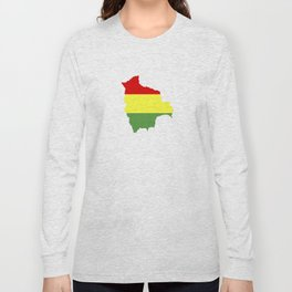 Bolivia flag map Long Sleeve T-shirt