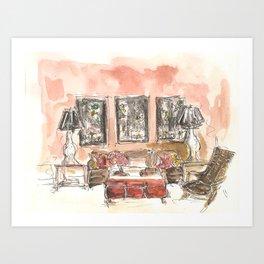 Vintage 90s Living Room Painting Art Print