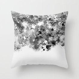 paint splatter on gradient pattern bwmw Throw Pillow