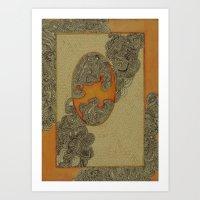The Qalam Series: Orange Miniature Art Print
