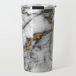 marble gold black Travel Mug