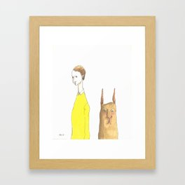 The Man with the Square Rabbit Framed Art Print