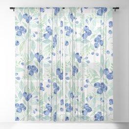 Midsummer - Watercolor Blueberries  Sheer Curtain